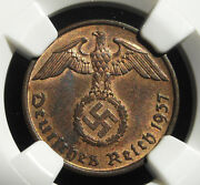 Ngc Ms-64 Rb Nazi Swastika 1937-d 2 Reichpfennig Coin-germany 3rd-reich Mint