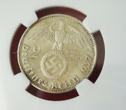 Ngc Ms-63 Nazi Swastika 1937-a 2 Reichsmark Silver Coin-german 3rd-reich Mint