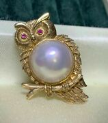 Good Night Japan Mabe Pearl Pendant Or Brooches 18k And Ruby Japan Order