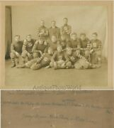 College Football Team Young Men Athletes In Uniforms Antique Sport Photo