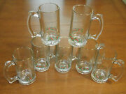 Arbyand039s Libbey Holly Berry Christmas Beer Mugs Glasses Handle Gold Rim Lot Of 7