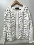 Colleen Lopez Ivory Cream Modern Mesh Faux Leather Leaf Jacket Size 1x