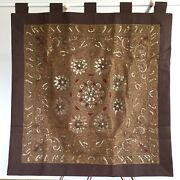 Wall Hanging Thai Burmese Kalaga Tapestry Vintage Embroidered Sequins Flower 2
