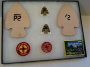 Group / Lot 7 Items - Philmont / Leather And Patches - Boy Scout Bsa Gandw/9-3
