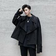 Menand039s Fashion Lapel Double-breasted Loose Short Windbreakers Casual Coat D194
