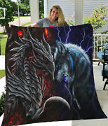 Red Dragon And Blue Wolf Lava Thunder Quilt Blankets Birthday Holiday Great Gifts