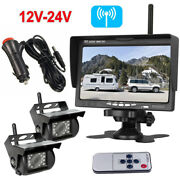 2x Wireless Ir Rear View Back Up Camera Night Vision System+ 7 Monitor Rv Truck