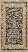 Navy Blue All-over Floral Antique Kirman Traditional Area Rug Hand-knotted 6'x8'