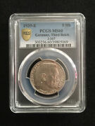 Rare Old Wwii German War Silver Coin 1939-e Germany 5 Mark Pcgs Ms60