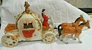 Lg. Porcelain Cinderella Carriage W Driver And 2 Horses Unmarked Music Box