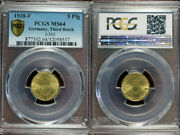 Rare Old Wwii German War Coin 1938-f Germany 5 Pfennig Pcgs Ms64