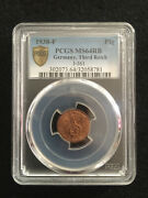 Rare Old Wwii German War Coin 1938-f Germany Pfennig Pcgs Ms64 Rb