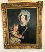 Antique English Oil Painting Of A Lady And Child C 1815-1830