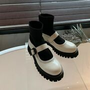 Fashion Womenand039s Round Toe Block Heels Ankle Boots Pull On Leather Shoes Sz Q476