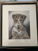 Gladys Emerson Cook Original Pastel Drawing Of A Wire Fox Terrier Puppy