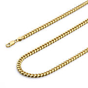 Wellingsale 14k Yellow Gold 5mm Solid Miami Cuban Chain Necklace
