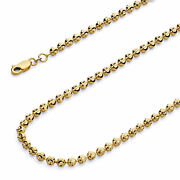 Wellingsale 14k Yellow Gold 4mm Moon Cut Bead Ball Chain Necklace