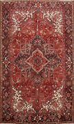 Excellent Vintage Geometric Long-wearing Red Heriz Area Rug Hand-knotted 8x11 Ft