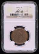 1852 Braided Hair Large Cent Coin Ngc Ms65bn