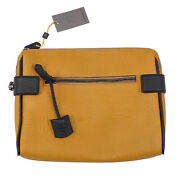Canali Golden Yellow Textured Grained Leather Laptop Travel Case Nwt 875 Bag