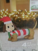Christmas Inflatable Air Blown Weiner Dachshound Dog Decoration Led Light 4and039
