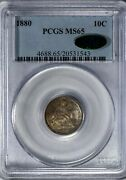 1880 10c Seated Liberty Dime Pcgs Ms65 Cac-verified Solid For The Grade