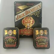 3 Vintage Jack Daniels Old Time No 7 Tennessee Whiskey Tin Box - Set Of 3