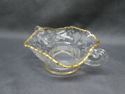 Cambridge Glass Rose Point Handled Open Candy Dish Clear Gold Trim