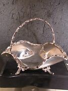 .925 Sterling Mexico Taxco Footed Candy Dish With Handle 396 Gr No Mono