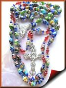 Catholic Millefiore Glass Rosary Hand-knotted Blessed With Padre Pio Relic