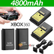 For Microsoft Xbox 360 Wireless Controller 2x Battery Pack+charger Cable 4800mah