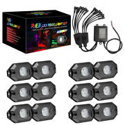 12-pods Rgb Led Rock Lights Wireless Bluetooth Music Multi-color Off Road Truck