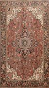 Vintage Geometric Traditional Heriz Hand-knotted Area Rug Oriental 8and039x11and039 Carpet