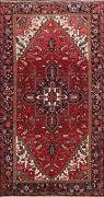 Vintage Excellent Geometric Red Heriz Area Rug Traditional Living Room 7x11 Ft.