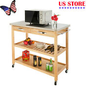 Kitchen Island Trolley Cart Stainless Steel Table Top Rolling W/ Storage Drawer