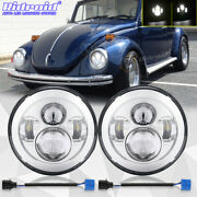 Pair 7inch Round Led Headlights Hi-lo Beam Projector For Volkswagen Beetle 50-79