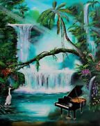 Tropical Bliss With Music - Large Original Acrylic Paintingon Canvas By Galina
