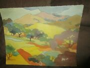 Sign Original Watercolor By Peg Humphreys, Mt Diablo On Fire And Floral 25.5x20