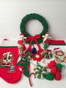 Large Lot Of Vintage Christmas Ornaments Decorations Handmade Knitted +stockings