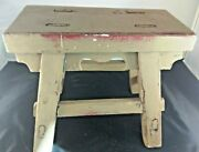 Antique Vintage Primitive Painted Wood Cricket Footstool Small Bench No Nails