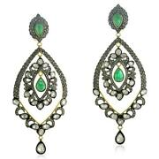 14k Gold Pear Cut Emerald And Diamond 925 Silver Dangle Earrings Jewelry For Her