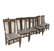 Antique Oak Dining Chairs, T Back With Leather Seats