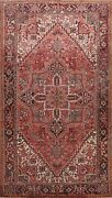 Vintage Geometric Heriz Traditional Area Rug Hand-knotted Oriental Carpet 8and039x11and039