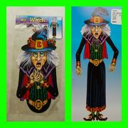 Vintage 80s Beistle Halloween Decoration 40 Witch Jointed Nos Monster Sealed