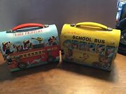 Aladdin Walt Disneyand039s School Bus Dome And Firefighters Domed Lunchboxes