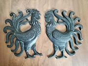 Vintage Cast Iron Rooster Chicken Americana Wall Hanging Trivet Decor Farmhouse