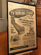 Big 11x17 Framed Chicago Coinand039s Tv Bowling League 1958 Arcade Game Promo Ad