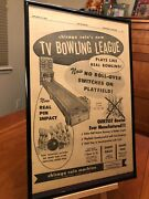 Big 11x17 Framed Chicago Coin's Tv Bowling League 1958 Arcade Game Promo Ad