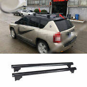 Fit For Jeep Compass 2008-2010 Black Aluminum Top Roof Cargo Rack Cross Bars 2x