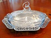 Farber Bros.n.y.and Heisey Lidded Floral Etched Glass Butter/ Condiments Dish Guc